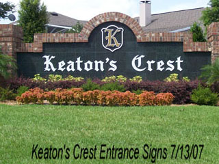 Entrance sign for Keatons Crest subdivision at Hunters Creek