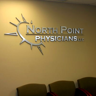 Northpoint Physicians choose a brushed aluminum face with black edge for this custom made logo and letters in the waiting room