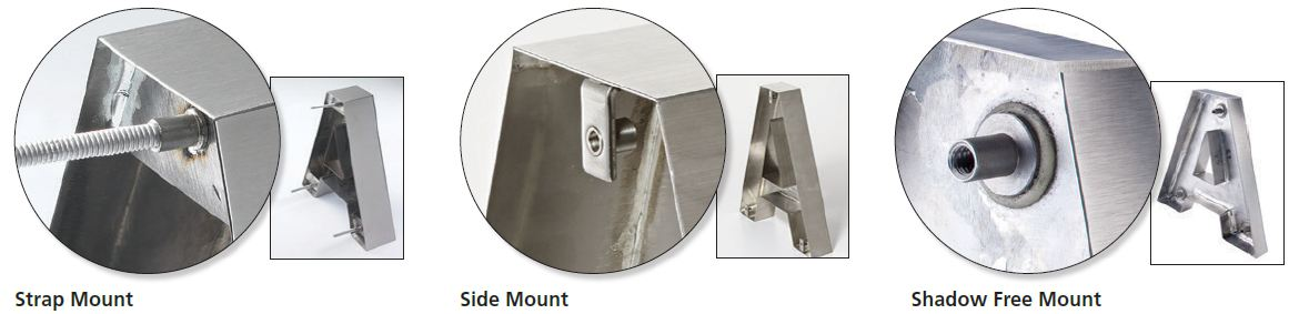 Picture of how to stud mount fabricated channel letters