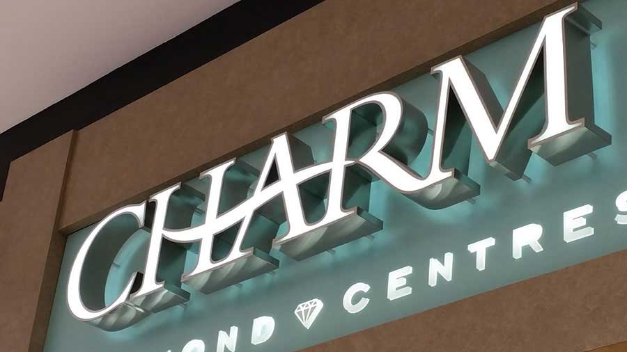 Charm Jewelers sign using face lighted channel letters