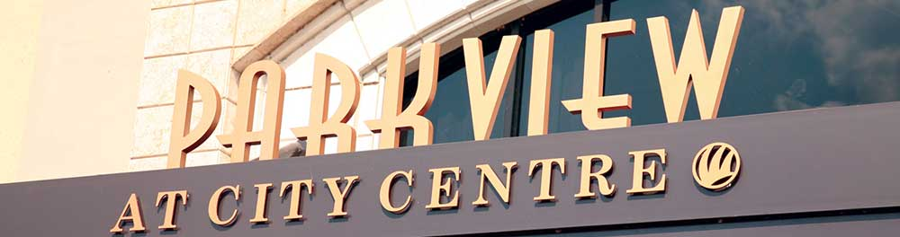 Custom Cast Bronze letters PARKVIEW installed at City Centre