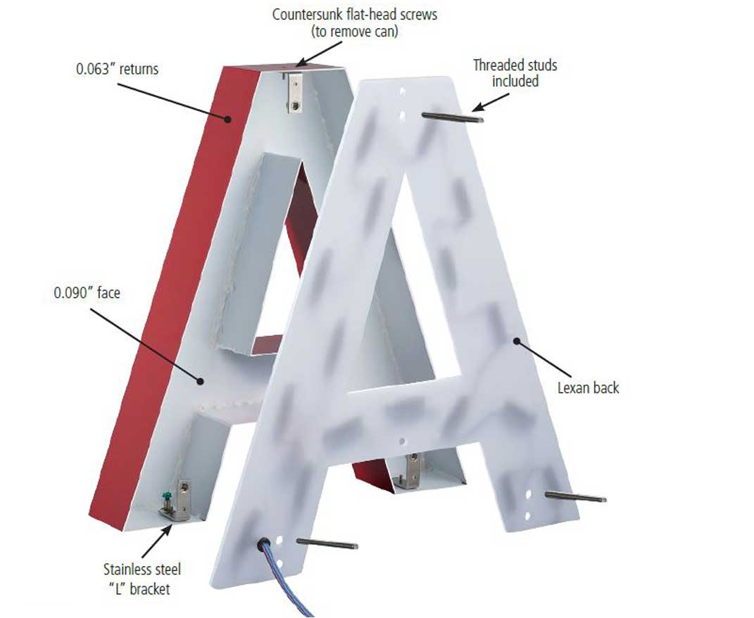 Anatomy of an aluminum channel letter for LED