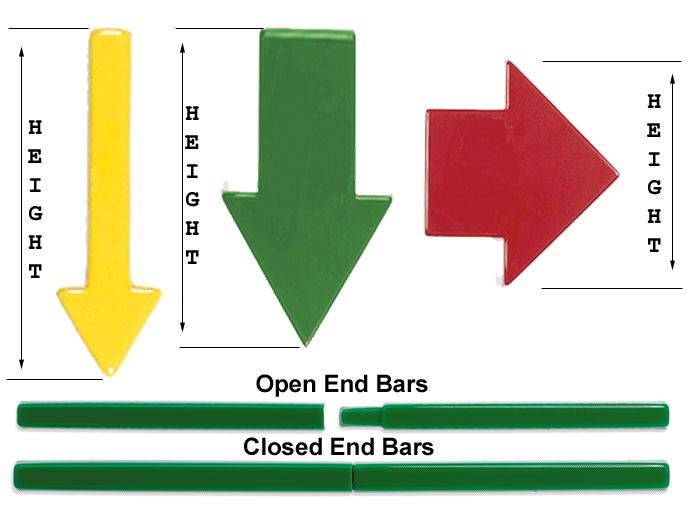 Three different formed plastic arrows for directional wayfinding