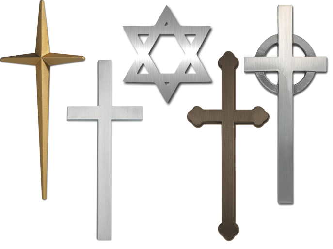 Latin or Plain Cross, celtic cross, fleur de lis cross, prismatic cross and the Star of David