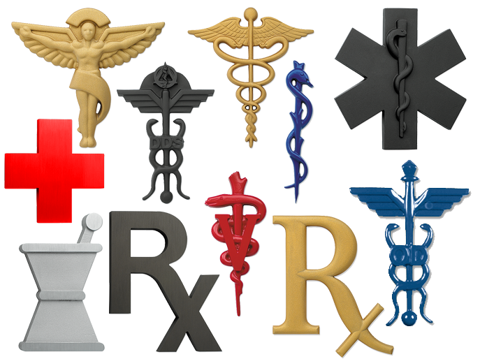 Cast Caduceus Symbol,Cast DDS Dental Symbol,Cast OD Optometry Symbol,Cast Chiropractic Symbol,Cast Veterinary Symbol,Cast Symbol of Life,Cast Staff of Asclepius,Cast Mortar and Pestle Symbol,Cast Rx Symbol,Cast Red Cross Symbol