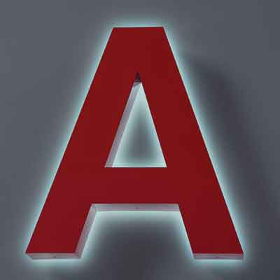 Lighted Letter A in reverse channel sign letters