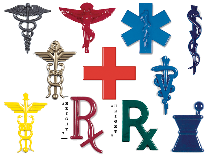 Formed Plastic Medical Emblems Medical Insignia For Signs