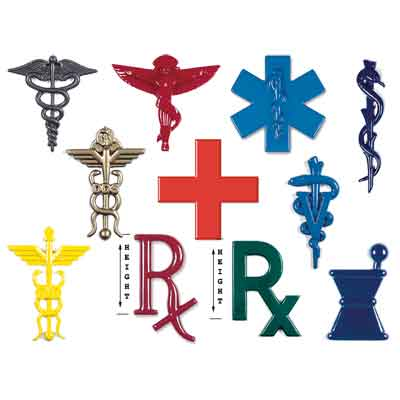 Common medical symbols in plastic