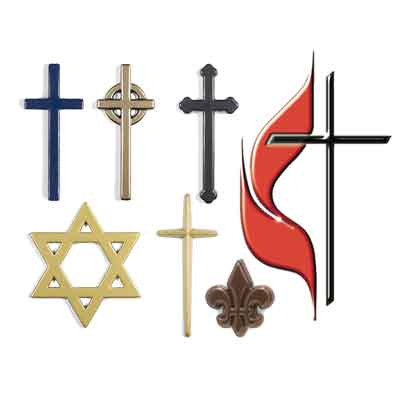 Common religious symbols in plastic