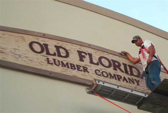 old florida lumber company oxidized copper letters
