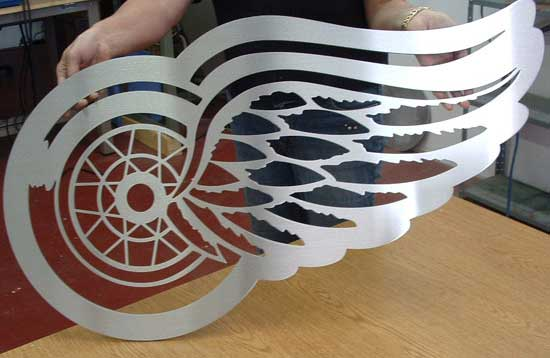 redwings logo cutout in stainless steel