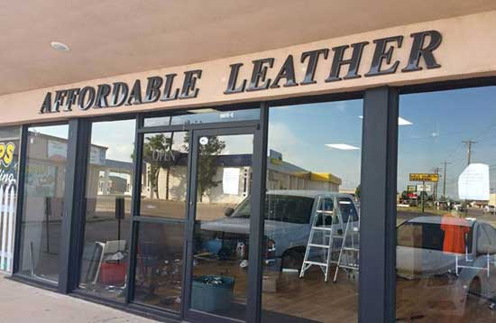 affordable leather store formed plastic letters